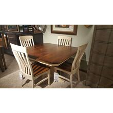 Clipped Corner Table and Four Chairs in Rustic Cherry/Ivory Maple