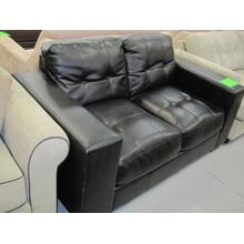 Black leather imitation loveseat