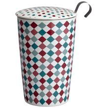 See Details - Eigenart Double Wall Porcelain Tea Cup Lollipop Teaeve with Porcelain Lid and Stainless Steel Tea Strainer, 11.85 Oz