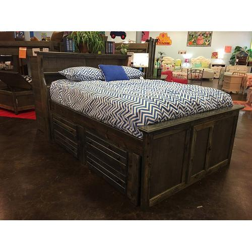 """Full Captains Bed W"""" 4 Drawers Rustic Grey"""