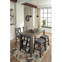 See Details - Caitbrook 5 Piece Kitchen Island and Chair Set with Adjustable Storage