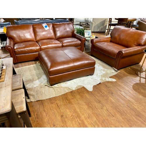 Stallion Chestnut Leather Sofa, Chair & Ottoman