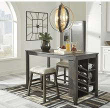 Rokane - Brown - 3 Pc. - Rectangular Counter Table with Storage & 2 Upholstered Stools