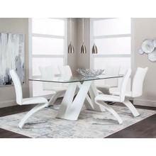 View Product - Cortina 7 Piece Dining Room Set: Glass Table and 6 Chairs