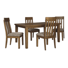 Flaybern Dining Room 5 Pc. Set: Rectangular Butterfly Table with 4 Upholstered Side Chairs