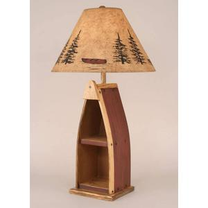 Wooden Boat Table Lamp (Red)