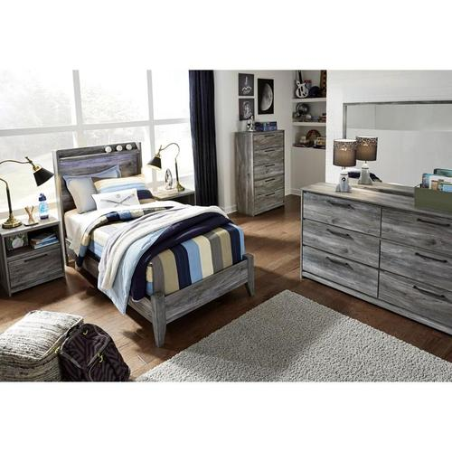 Packages - Baystorm Twin Size 3 Piece Bedroom Set - Includes: Twin Bed, Tall Narrow Chest, Nightstand