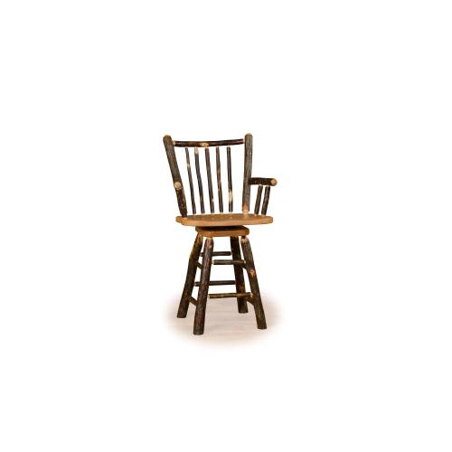 Brage Rustic Collection - Hickory Stick Back Stool with Arms