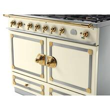 CornuFe 110 Dual Fuel Range - Suzanne Kazler Couleurs - Blanc with Stainless Steel and Polished Brass Trim