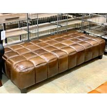 See Details - Large Chestnut Leather Ottoman