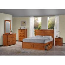MERRIMAC PANEL QUEEN BED FRAME - HONEY OAK
