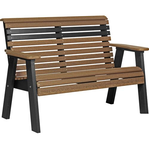 Plain Bench 4' Premium Antique Mahogany and Black