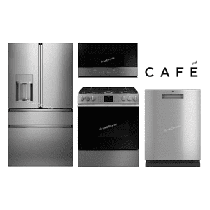 "Packages - GE Cafe 36"" 4 Door Platinum Glass Series W/ Slide In"