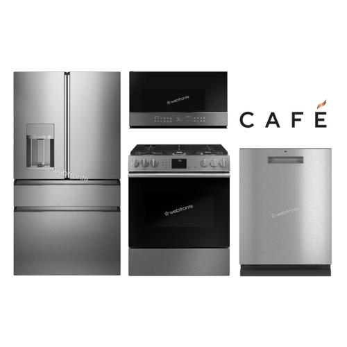 """GE Cafe 36"""" 4 Door Platinum Glass Series W/ Slide In"""
