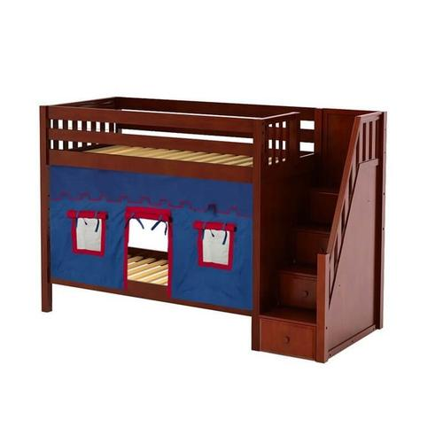 Medium High Bunk Bed with Staircase on End & Curtain In Chestnut Finish