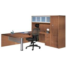 Jade - Executive U Wood Veneer Bullet Desk with Optional Glass Hutch and Wardrobe