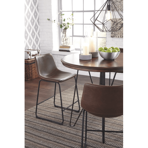 Centiar - Two-tone Brown - 5 Pc. - Round Counter Table & 4 Brown Barstools