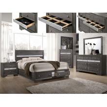 See Details - CrownMark 4 Pc Queen Bedroom Set, Regata Grey B4650