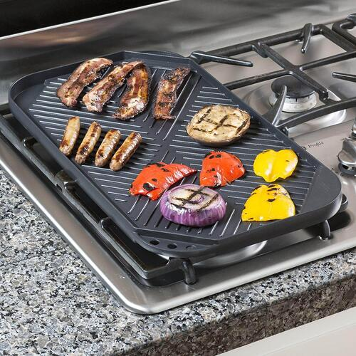 Ecolution - Ecolution Grill/Griddle - Stovetop Reversible Double Burner, ECAG-3220, 19.5 x 11 Inch, Cast Aluminum