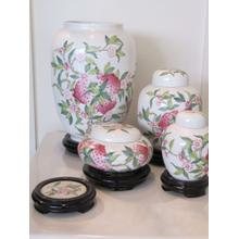 """See Details - hand painted 5"""" ceramic jar with lid and wooden base"""