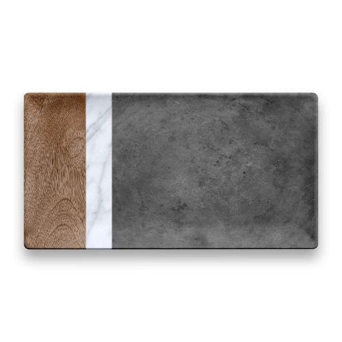 Mixed Material Marin, Carrara & Stone Plank Platter
