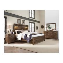 Dakota Bourbon King Bedroom Set: King Bed, Nightstand, Dresser & Mirror