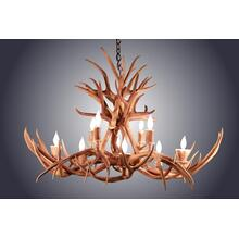 REAL 10 Light Oblong Inverted Mule Deer Antler Chandelier