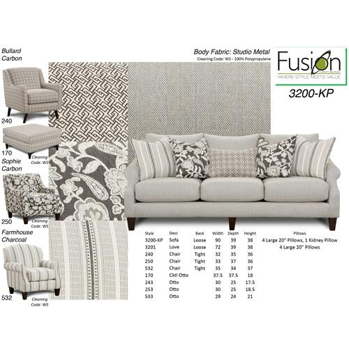 SM3200  Sofa, Loveseat, Chair and Ottoman - Studio Metal