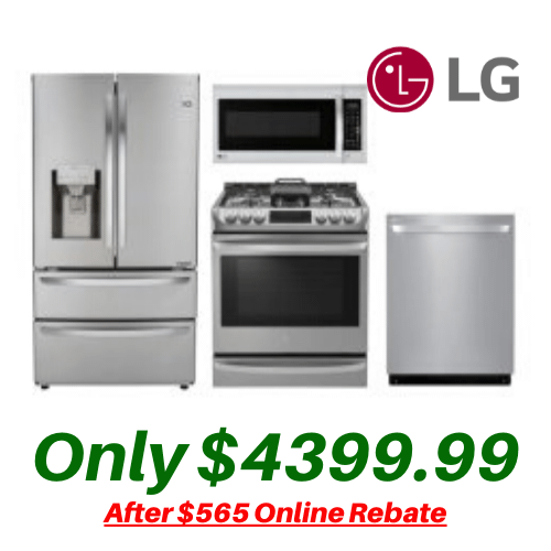 LG Kitchen Suite with Convection Slide-in Stove and 4-Door 28 Cu. Ft. Refrigerator