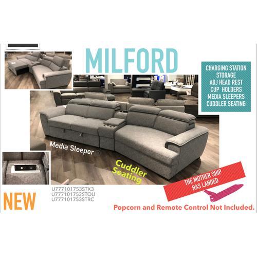 Milford 3 Pc Modern Grey Sectional Media Sleeper by Primo International, Model Milford