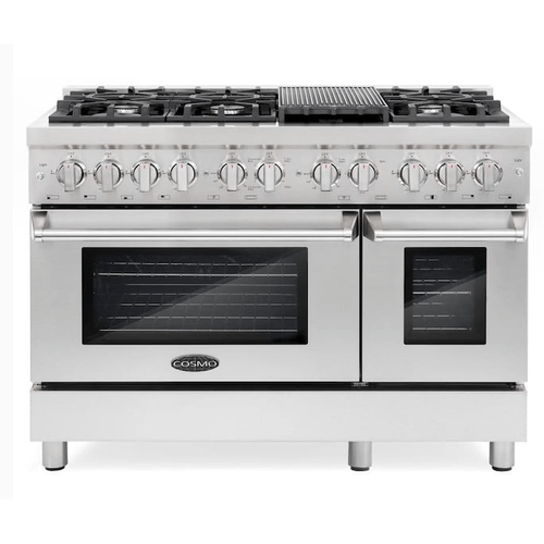 Cosmo 48-in Standard 6 Burners 3.97-cu ft/1.87-cu ft Convection Oven Freestanding Double Oven Dual Fuel Range (Stainless Steel)