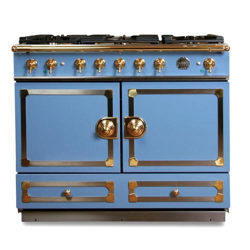 "CornuFe 110 cm Dual-Fuel Range (43"")- Provence Blue w/ Satin Chrome & Polished Brass Trim"
