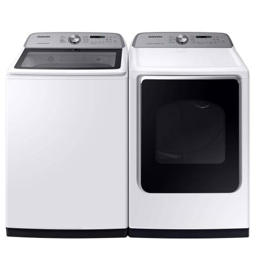 Samsung 5.4 cu. ft. White Top Load Washing Machine with Active WaterJet and 7.4 cu. ft. 240-Volt White Electric Vented Dryer with Steam Sanitize  in White