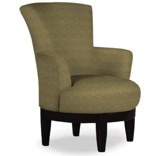 Justine Swivel Barrel Chair in Grotto Fabric