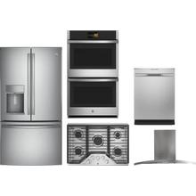 5 Piece Kitchen Appliances Package with French Door Refrigerator and Dishwasher in Stainless Steel