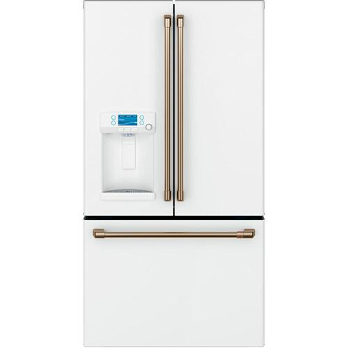 GE Cafe 22.2CF Matte White French Door Refrigerator with Hot Water Dispenser Counter Depth