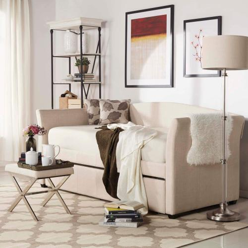 Meyer Collection Biege Linen Daybed with Trundle