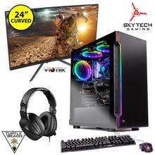 "Skytech Gaming PC Bundle with 24"" Curved Monitor & Turtle Beach Gaming Headset"