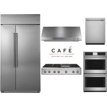 """Cafe Professional 48"""" Rangetop with Built In Refrigerator Package"""