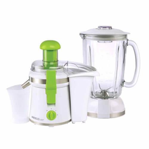 Nesco - Nesco American Harvest JB-50 2-in-1 Juicer/Blender, White with Green Trim
