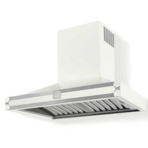 Lacornue Cornufe - Pure White Albertine 90 Hood with Polished Chrome Accents