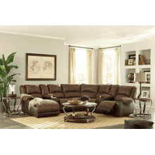 Nantahala - Coffee -2 Recliner Sectional with Left Facing Chaise and 2 Consoles
