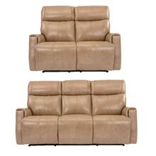 Flexsteel Holton 2 Piece Set: Leather Power Reclining Sofa & Loveseat w/ Power Headrest