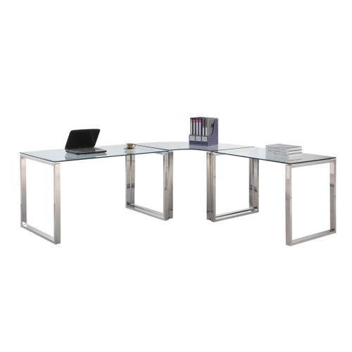 Chintally 3 Piece Glass & Steel Desk