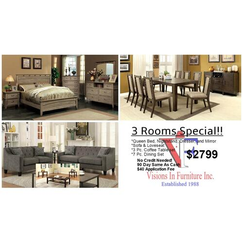 Packages - 3 Room Special includes, dresser, mirror, nightstand, queen bed, 3 pc coffee table set, sofa & Loveseat, 7 pc. dining set