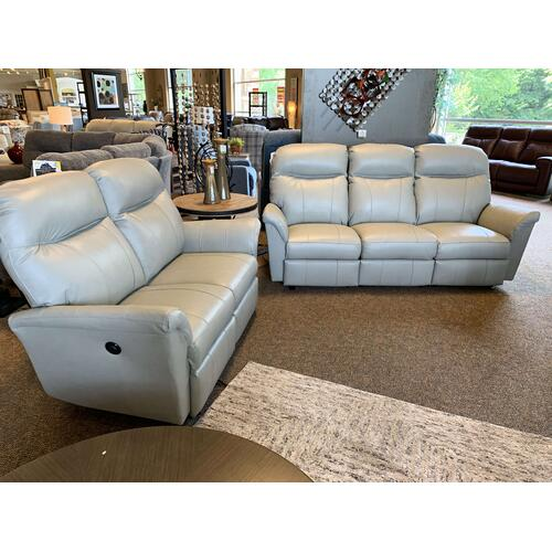 Caitlin Power Reclining Leather Grey Loveseat - Space Saver