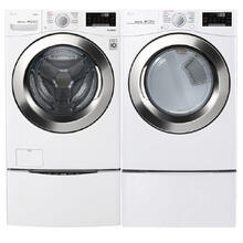LG 4.5 cu. ft. Ultra Large Smart wi-fi Enabled Front Load Washer & 7.4 cu. ft. SteamDryer