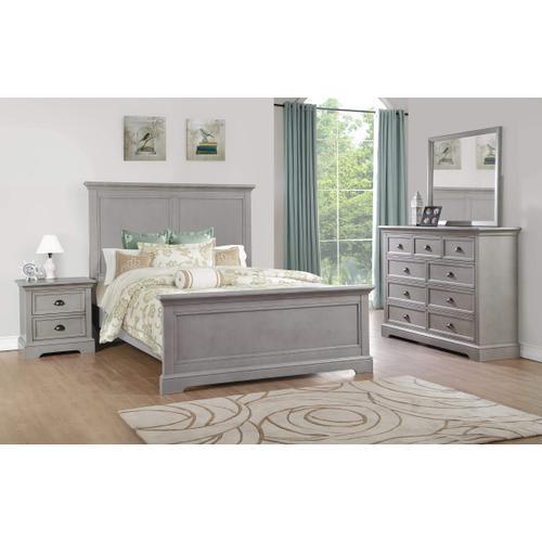 Panel Full Bed, Grey