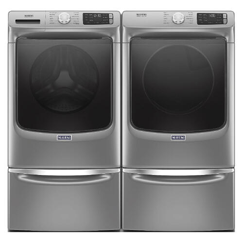 MAYTAG Extra Power 4.8 cu. ft. Front Load Washer & 7.3 cu. ft. Electric Dryer with pedestals - Metallic Slate