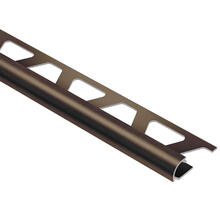 See Details - Rondec Brushed Antique Bronze Anodized Aluminum 3/8 in. x 8 ft. 2-1/2 in. Metal Bullnose Tile Edging Trim